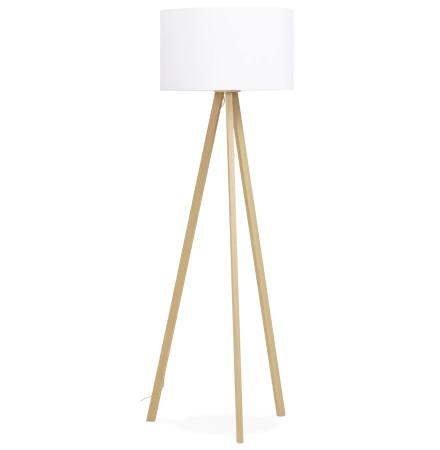 Staande lamp op driepoot 'SPRING' met witte lampenkap en 3 naturel poten
