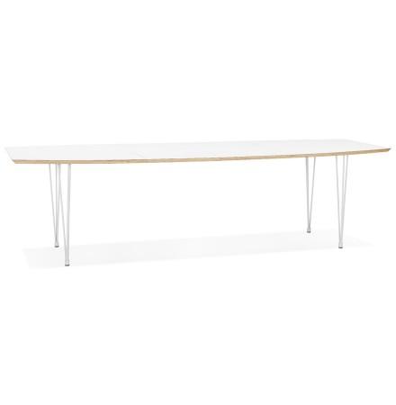 Table de salle à manger extensible 'TADAM' blanche avec pieds en métal blanc - 170(270)x100 cm