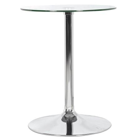 Ronde glazen bijzettafel 'TRAK' met verchroomde voet - HoReCa tafel Ø 60 cm