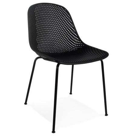 Zwarte geperforeerde design stoel 'VIKY' binnen/buiten