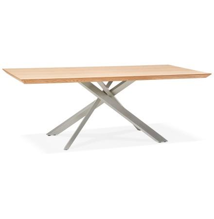 Eettafel 'WALABY' in hout met natuurlijke afwerking en met centrale metalen voet - 200 x 100 cm