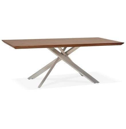 Eettafel 'WALABY' in hout met notelaarafwerking en met centrale metalen voet - 200 x 100 cm