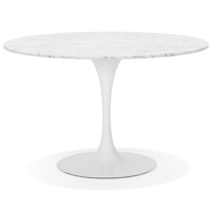 Ronde eettafel 'WITNEY' van wit gemarmerde steen en wit metaal - Ø 120 cm