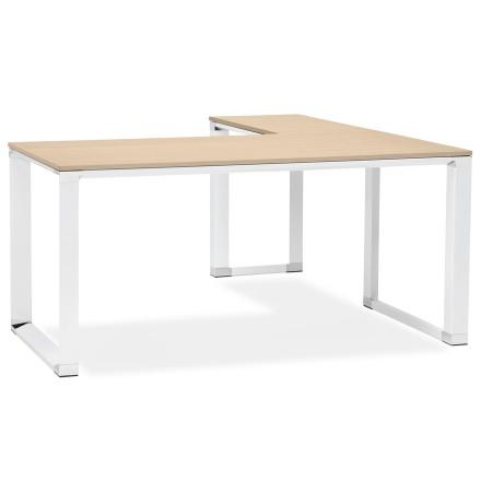 Design hoekbureau 'XLINE' met natuurlijke houten afwerking en wit metaal (hoek naar keuze)