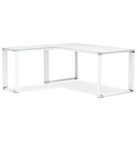 Design, hoekvormig directiebureau 'XLINE' van wit glas (hoek naar keuze)