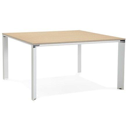Vergadertafel / bench-bureau 'XLINE SQUARE' met natuurlijke houten afwerking en wit metaal - 140x140 cm