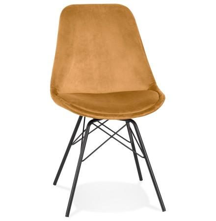 Design stoel 'ZAZY' van mosterde fluweel met zwarte metalen poten