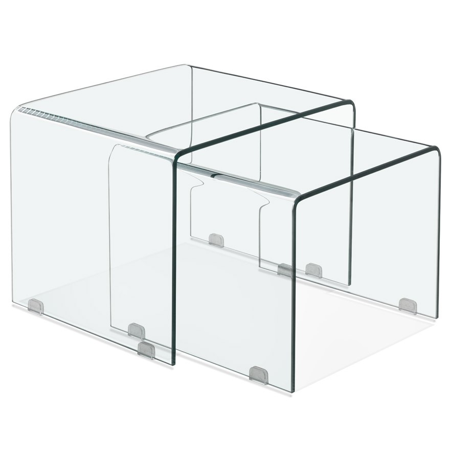 2 Glazen Bijzettafeltjes.Set Van Twee Design Bijzettafeltjes Bobby Double Side Van Transparant Glas