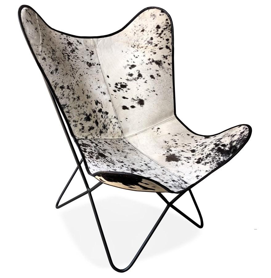 Design Fauteuil Wit Leer.Vlinderstoel Fox In Leer Met Gevlekte Vacht In Zwart En Wit