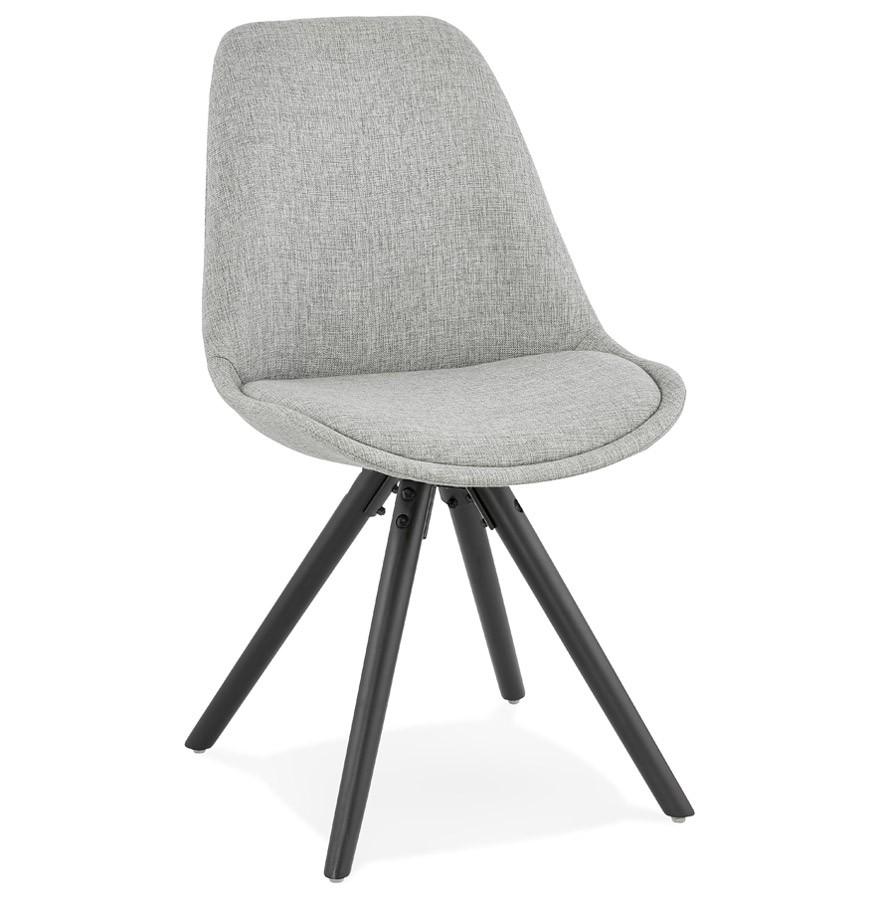 Moderne stoel HIPHOP van grijze stof en zwart houten poten