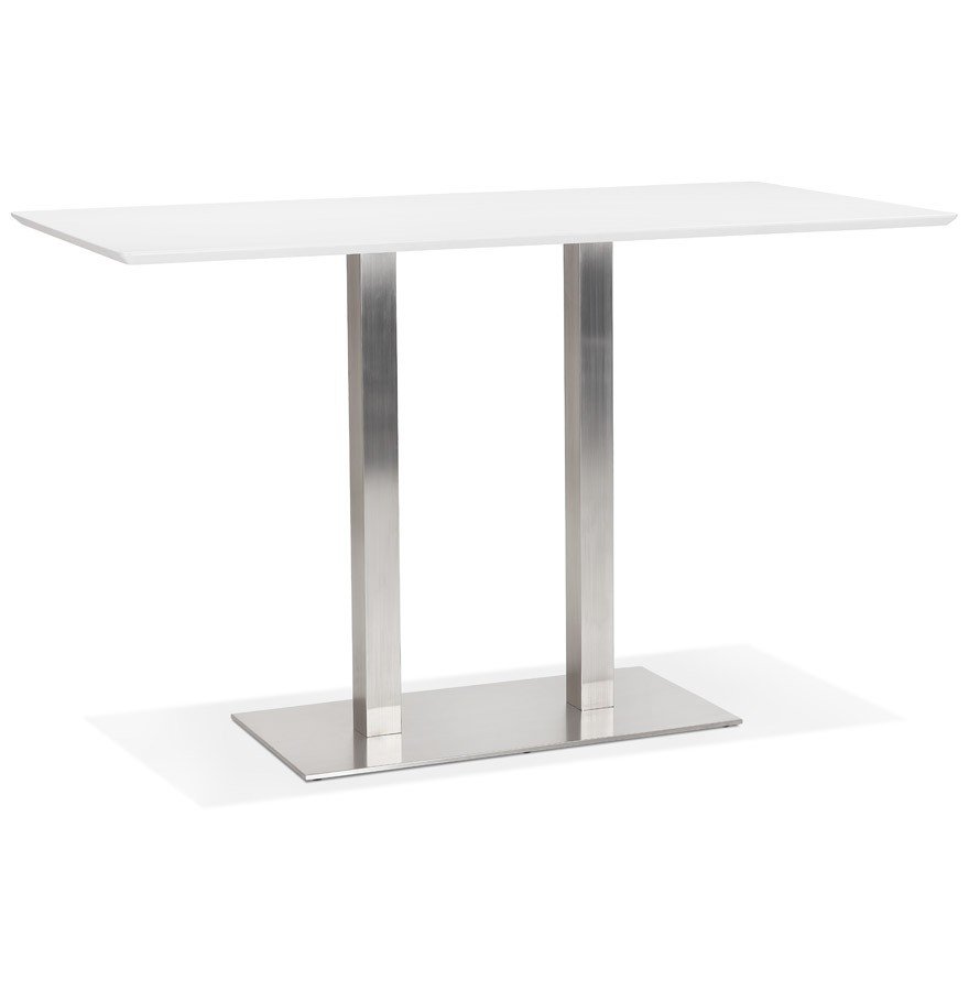 Witte Tafel 180x90.Witte Hoge Design Tafel Mambo Bar Met Geborsteld Metalen Poot 180x90 Cm