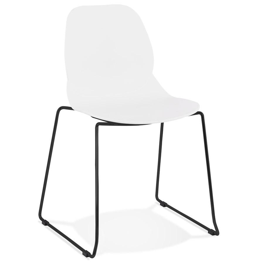 8 Zwarte Design Stoelen.Witte Design Stoel Numerik Met Poten Van Zwart Metaal