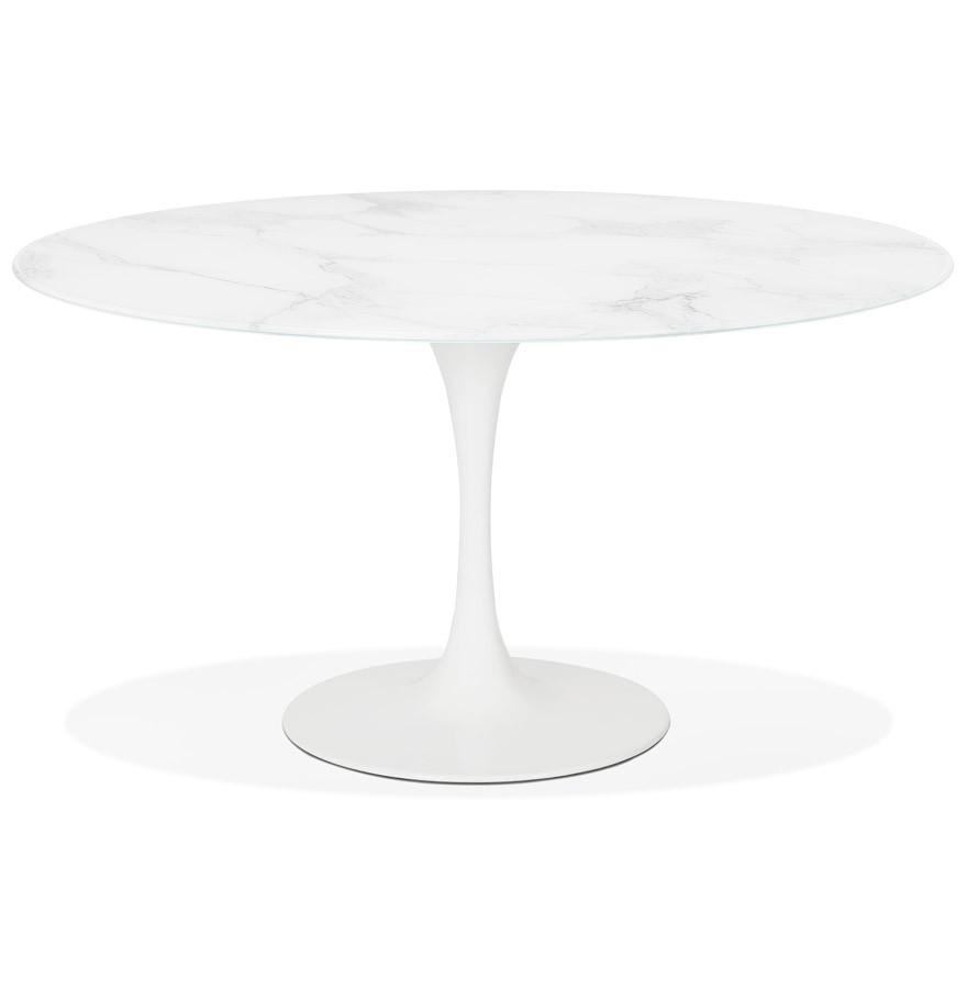 Eettafel Design Wit.Design Ronde Eettafel Shadow Van Wit Glas Met Marmereffect O 140 Cm