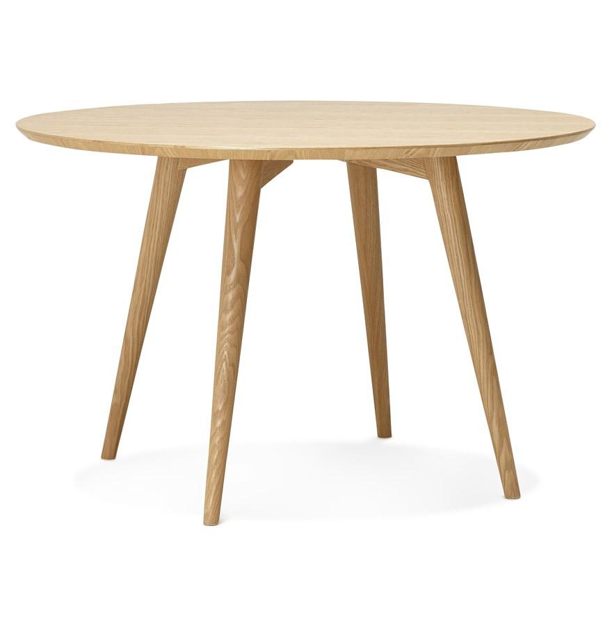 Naturel houten ronde eettafel swedy in scandinavische stijl for Houten eettafel design