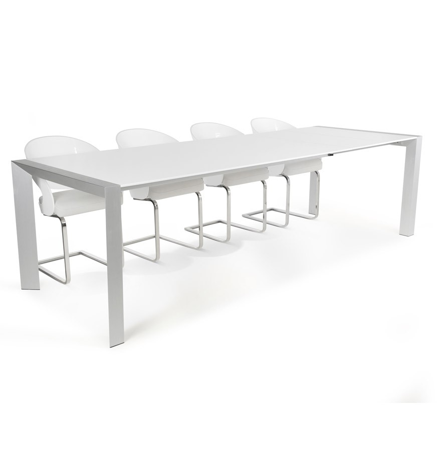 witte uitschuifbare design tafel titan met verlengstukken