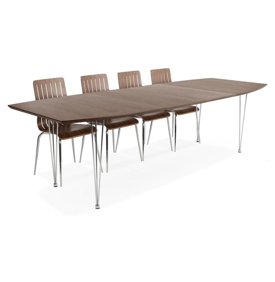 Uitschuifbare eettafel xtend uit notenboomhout design tafel for Uitschuifbare eettafel