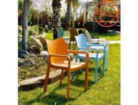 Design terrasstoel 'VIVA' uit blauwe kunststof