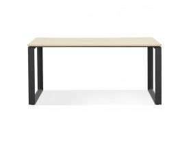 Rechte design bureau 'BAKUS' van natuurkleurig afgewerkte hout en zwart metaal - 160x80 cm