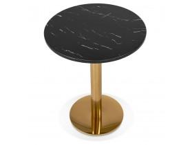 Rond bistrotafeltje 'BATIGNOL' van zwart gemarmerde steen met goudkleurige metalen poot - Ø 60 cm