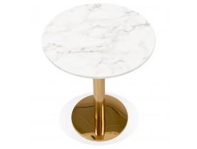 Rond bistrotafeltje 'BATIGNOL' van wit gemarmerde steen met goudkleurige metalen poot - Ø 60 cm