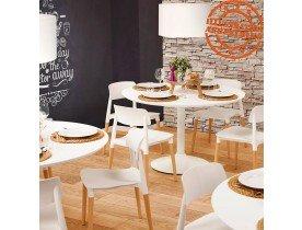 Ronde eettafel/bureautafel 'BARABAR' van wit hout - Ø 120 cm