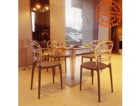Zwarte en transparante design stoel 'BARO' uit kunststof