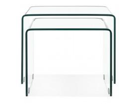 Set van twee design bijzettafeltjes 'BOBBY DOUBLE SIDE' van transparant glas