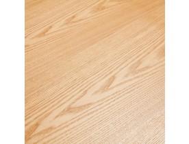 Ronde eetkamertafel 'BRIK' van natuurkleurig hout met centrale poot van wit metaal - Ø 140 cm