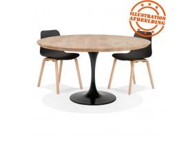 Table à manger ronde 'CANOPY' en chêne massif avec pied central en métal noir - Ø 140 cm