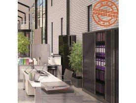 Hoge kantoorkast met roldeur 'CLASSIFY' donkergrijs - 198x120 cm