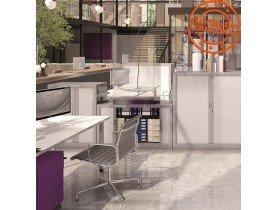 Lage kantoorkast met roldeur 'CLASSIFY' wit - 100x120 cm