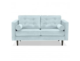 Lichtblauwe rechte fluwelen design zetel 'DELYA' - Zetel met 2 plaatsen