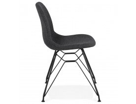 Design stoel 'DECLIK' donkergrijs met zwart metalen poten