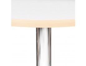 Ronde witte hoge tafel 'ELIOT ROUND' met een verchroomde metalen poot - Ø 60 cm