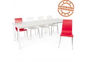 Design eetkamerstoel 'ESPERA' uit rood geverfd hout