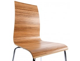 Houten design eetkamerstoel 'ESPERA'. Afgewerkt met zebranohout.