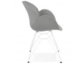 Moderne stoel 'FIDJI' grijs met wit metalen voet