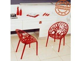 Moderne, rode transparante stoel 'GEO' uit kunststof