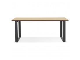 Grote rechte directiebureau 'GIMINI' van natuurkleurig afgewerkte hout en zwart metaal - 180x90 cm