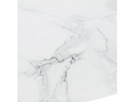 Ronde eettafel 'GOST' van wit glas met marmereffect en centrale zwarte poot - Ø 90 cm