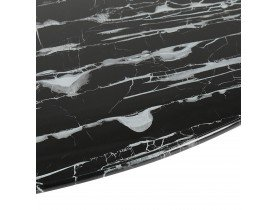 Ronde salontafel 'GOST MINI' van zwart glas met marmereffect en centrale witte poot