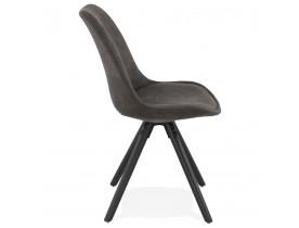 Comfortabele stoel 'HARRY' van grijze microvezel en zwarte houten poten