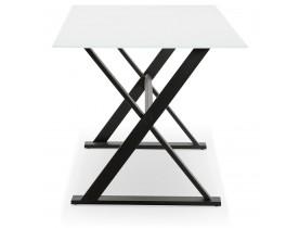 Met kruis-vormige voeten design eettafel / bureau 'HAVANA' van wit glas - 160x80 cm