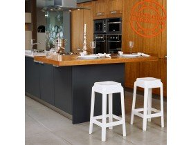 Halfhoge witte keukenkruk 'LENO MINI' uit  kunststof