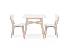 Vierkante eettafel 'MAEVA' van wit en natuurlijk afgewerkt hout - 80x80 cm