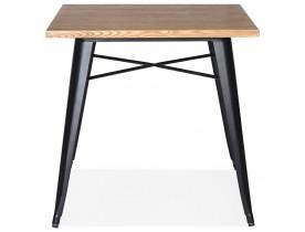 Vierkante industriële tafel 'MARCUS' van licht hout met zwarte metalen poten - 76 x 76 cm