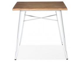 Vierkante industriële tafel 'MARCUS' van donker hout met witte metalen poten - 76 x 76 cm