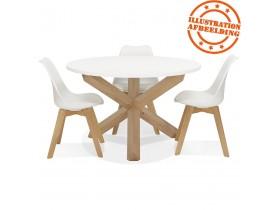 Ronde witte designtafel 'MARVEL' in massief eik