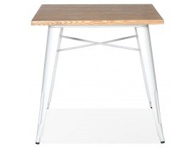 Vierkante industriële tafel 'MARCUS' van licht hout met witte metalen poten - 76 x 76 cm