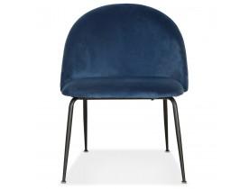 Loungefauteuil  'MERMAID' van blauw fluweel en zwarte metalen poten